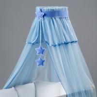 Nebesa šifon - modrý / modré hvězdičky