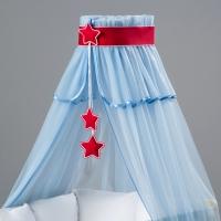 Nebesa šifon - modrý / červené hvězdičky