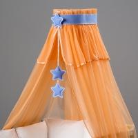 Nebesa šifon - broskev / modré hvězdičky