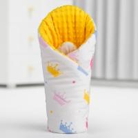 Luxusní zavinovačka MINKY BABY - oboustranná barevné korunky/bílá
