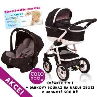 Kočárek APRILIA Coto Baby 3v1 + dárkový poukaz na 500kč - black