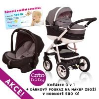 Kočárek APRILIA Coto Baby 3v1 + dárkový poukaz na 500kč - len black grey