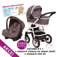 Kočárek APRILIA Coto Baby 3v1 + dárkový poukaz na 500kč - len grey
