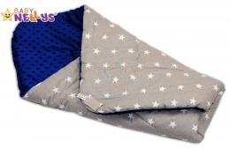 Luxusní zavinovačka MINKY BABY - oboustranná šedé hvězdičky / modrá