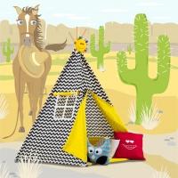 Stan pro děti TIPI + podložka a 2 polštářky - Zigzag černobílá, žlutá