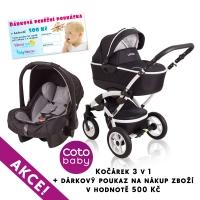 Kočárek LATINA Coto Baby 3v1 + dárkový kupon 500kč - black