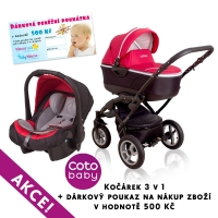 Kočárek LATINA Coto Baby 3v1 + dárkový kupon 500kč - red