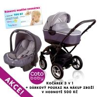 Kočárek LATINA Coto Baby 3v1 + dárkový kupon 500kč - grey