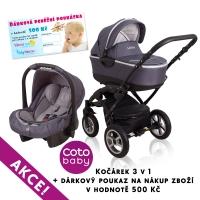 Kočárek LATINA Coto Baby 3v1 + dárkový kupon 500kč - graphite