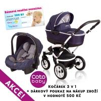 Kočárek LATINA Coto Baby 3v1 + dárkový kupon 500kč - dark blue