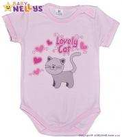 Body kr. rukáv  Baby Nellys ® - Roztomilá kočička - sv. růžové