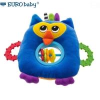 Plyšová hračka s kousátkem a chrastítkem  - Sovička - modrá