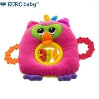 Plyšová hračka s kousátkem a chrastítkem  - Sovička -růžová