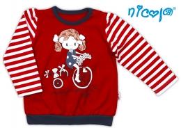 Bavlněné tričko NICOL ALA dlouhý rukáv - Holčička v červeném