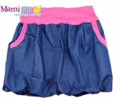 Balónová sukně NELLY  - jeans denim granát/ růžové lemy