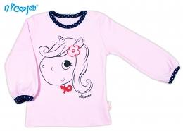 Bavlněné tričko NICOL LOVELY PONY dlouhý rukáv - Pony v růžovém