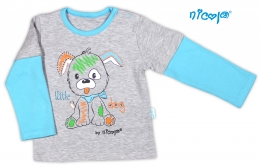 Bavlněné tričko NICOL LITTLE DOG dlouhý rukáv - šedo/modré