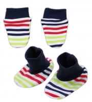 Sada - rukavičky s botičkami NICOL BAGR - barevný proužek
