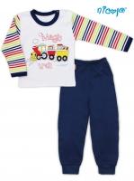 Bavlněné pyžamko NICOL MAGIC TRAIN - bílo/modré