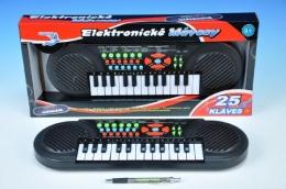Piánko/Varhany plast 41x13cm 25 kláves na baterie v krabičce