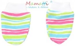Kojenecké rukavičky Mamatti - CAT- barevné proužky
