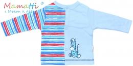 Bavlněná košilka Mamatti - ZEBRA - sv. modrá/barevné proužky