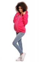 Těhotenská mikina VANDA s kapucí - růžová