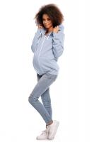 Těhotenská mikina VANDA s kapucí - jeansová