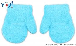 Zimní kojenecké dívčí froté rukavičky YO - sv. modré