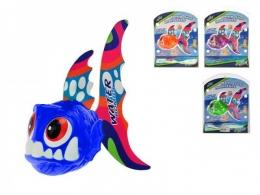 Mořská ryba 13cm plast na baterie se světlem vodní bomba asst 4 barvy na kartě
