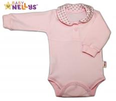 Body dlouhý rukáv Baby Nellys® s límečkem - PUNTÍKY - sv.růžové/sv. šedé puntíky