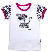 Bavlněné tričko NICOL GEPARDÍK - krátký rukáv - bílá