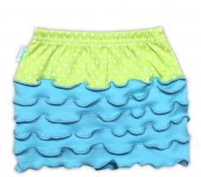 Suknička NICOL KVĚTINKA - sv. modrá/zelená puntík