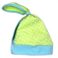 Dětský šátek na hlavičku NICOL KVĚTINKA - zelená puntík