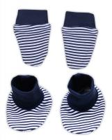 Sada - rukavičky s botičkami NICOL PIRÁTI - modrý proužek