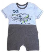 Body s nohavičkami NICOL AUTO - krátký rukáv - melír šedá/sv. modrá