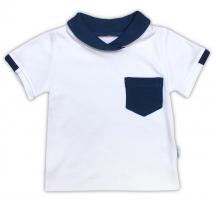Bavlněné tričko/polo NICOL SEDMIČKA - krátký rukáv - bílá
