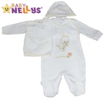 4-dílná kojenecká sada oblečení do porodnice Baby Nellys  ® - bílá/smetanový lem