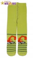 Bavlněné punčocháče Baby Nellys ® - Bagr sv. zelené s proužkem