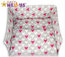 Mantinel s povlečením Baby Nellys ®- Srdíčka růžová/bílá v šedé