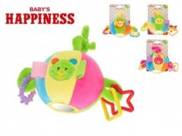 Míček plyšový 11cm s chrastítkem a kroužky Baby´s Happiness asst 4 druhy na kartě v s