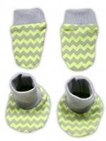 Sada - rukavičky s botičkami NICOL JEŠTĚRKA - zigzag hráškově zelená