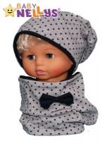 Bavlněná sada čepička a nákrčník s granátovými puntíčky Baby Nellys ® - šedá