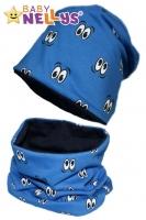 Bavlněná sada čepička a nákrčník s očičkami Baby Nellys ® - modrá