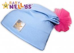 Bavlněná čepička Tutu květinka Baby Nellys ® - sv. modrá