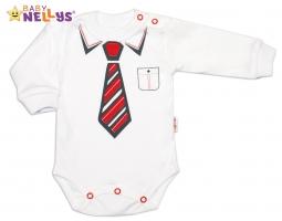 Body dlouhý rukáv Baby Nellys® s červenou kravatou - bílé