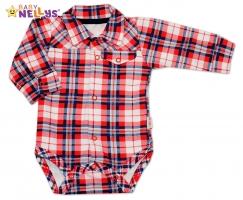 Body - košilka dlouhý rukáv Baby Nellys® - červené kárko