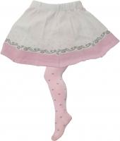 YO ! Bavlněné punčocháčky se sukničkou - růžovo/sv. růžové s ornamenty