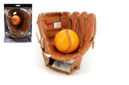 """Baseballová rukavice + míček kožená vel. 8,5"""" 17x21cm na kartě"""