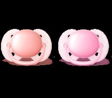 Dudlíky Avent 0-6m ULTRA SOFT - růžová/starorůžová